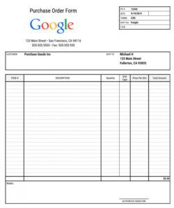 Professional Generic Order Form Template Excel Example