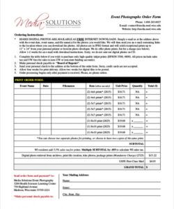 Sports Photography Order Form Template Word Sample