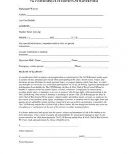 Costum Printable Fitness Waiver And Release Form Template Doc Example