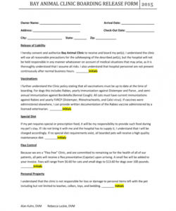 Editable Veterinary Release Form Template Doc