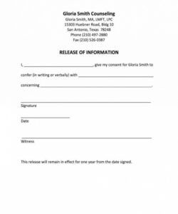 Free Release Of Information Form Template Doc Example